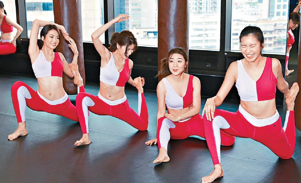 ■⑨廖倬竩(右二)在做瑜伽環節不慎跌倒。