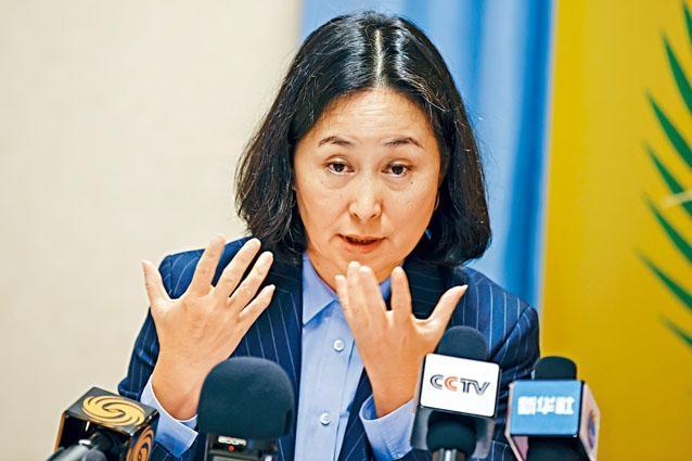 何超瓊出席聯合國人權理事會會議,在會上譴責香港激進示威者持續升級的暴力行為。