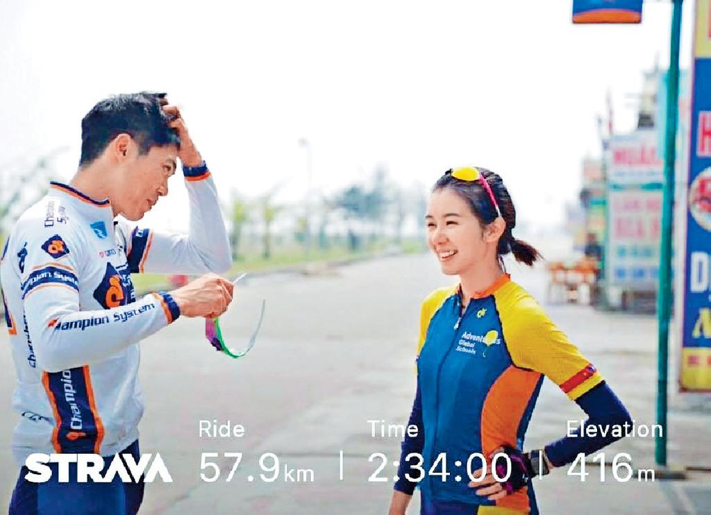 19年1月  單車教練胡健燊 ■被指與前港隊單車手胡健燊,為慈善踩單車到柬埔寨時日久生情。