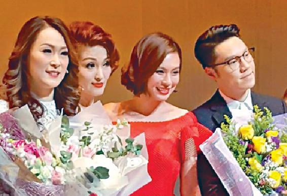 ■左起:童愛玲去年與李蕙敏、朱慧敏和王賢誌合演舞台劇。