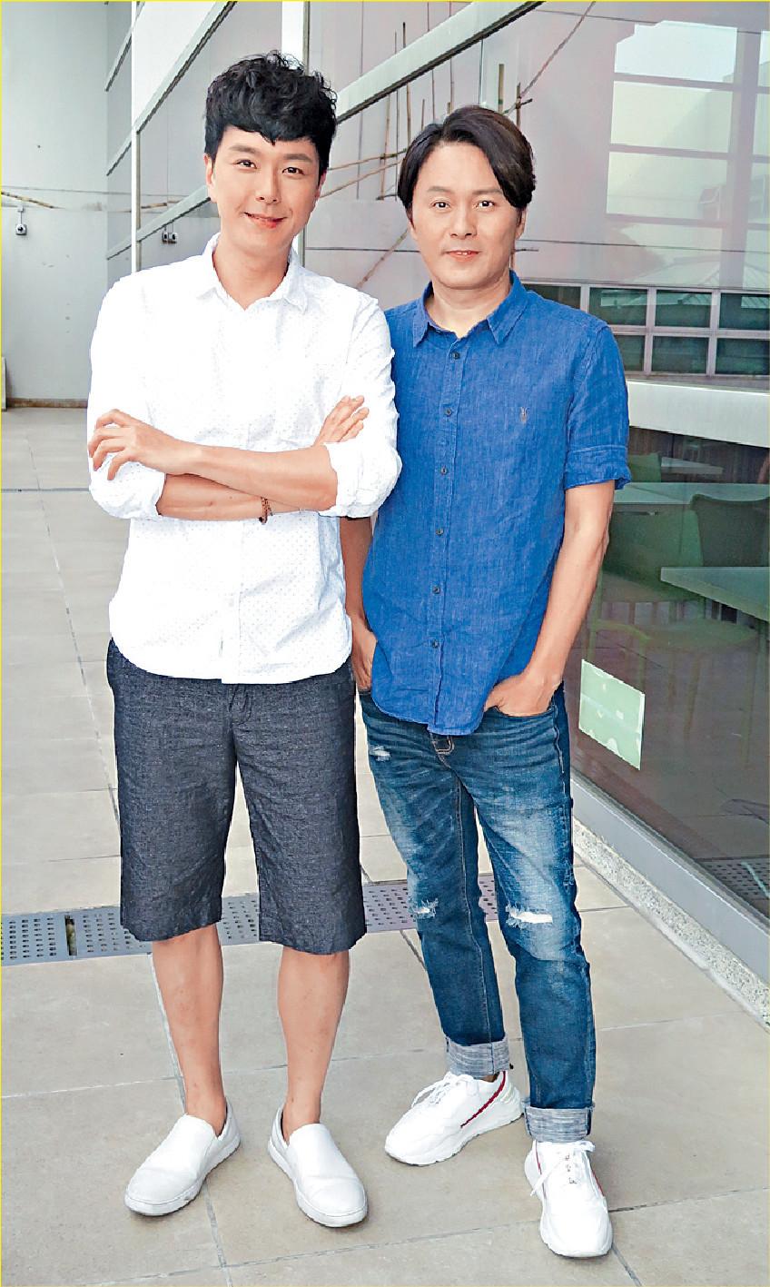 ■蕭正楠(左)和曹永廉昨為新劇開工。