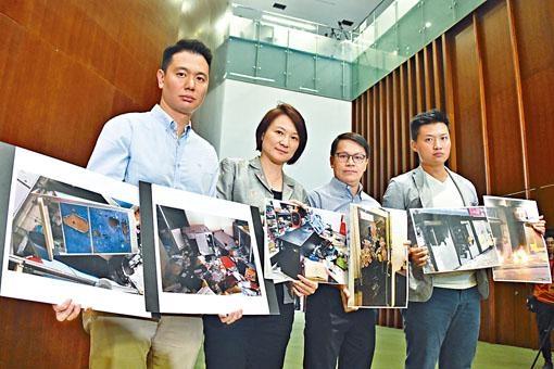 民建聯昨向傳媒展示地區辦事處「受襲」圖片。