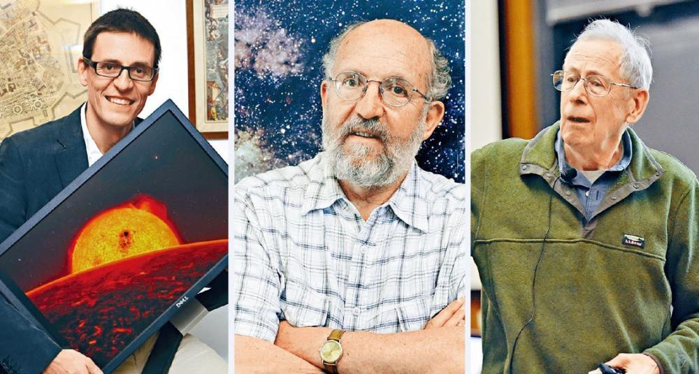 今年諾貝爾物理學獎得主(左起):瑞士學者奎洛茲和馬約爾、加拿大裔美國籍學者皮布爾斯。