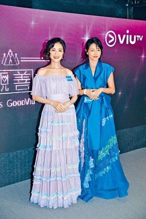 ■1994年的港姐冠、季軍譚小環(左)與李綺虹,難得一起為選美活動拍片。