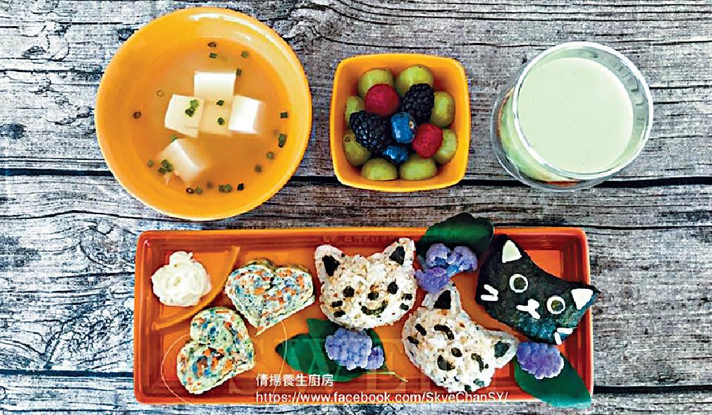 ■陳倩揚自家製嘅兒童餐,賣相一流。