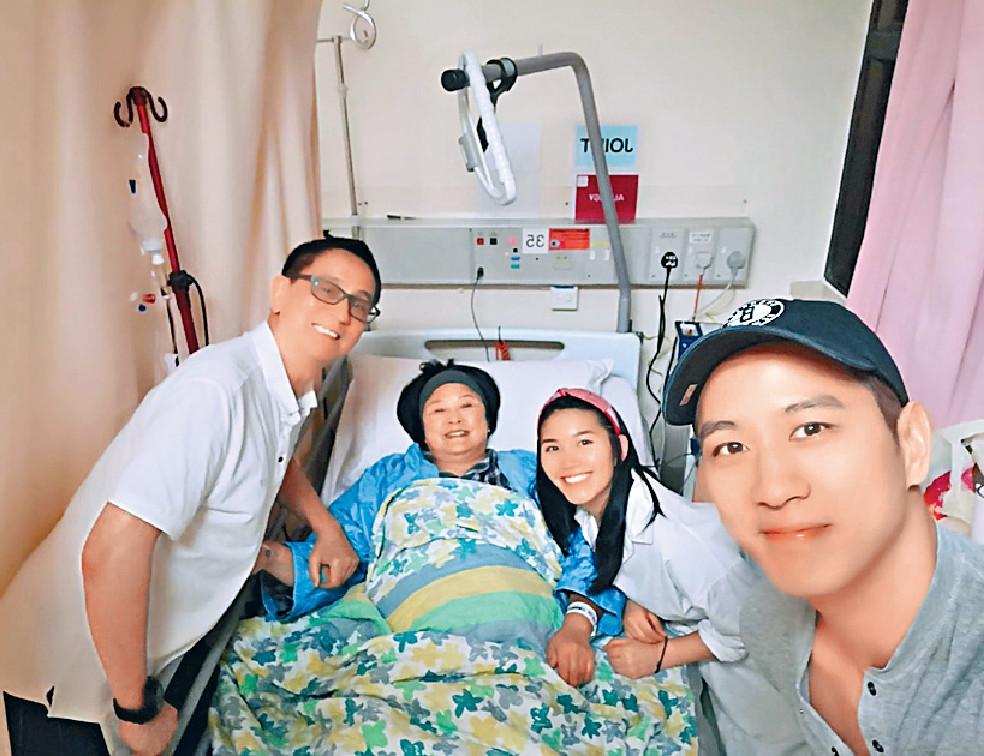 ■GiGi最近喺公立醫院接受全膝人工關節置換手術,術後老公徐景清、兒子徐肇平及女友去探病。