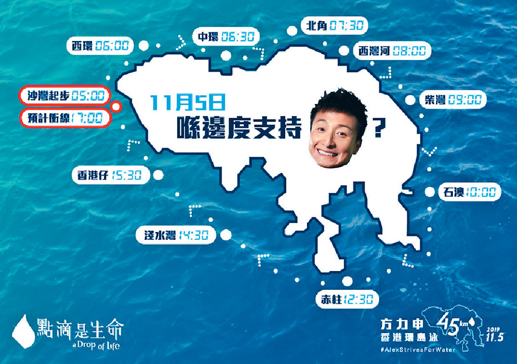 ■大會展示小方的環島泳路線及預計用時。