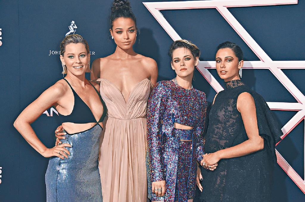■(左起)伊莉莎白、Ella、姬絲汀和Naomi齊撐新片。美聯社
