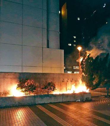 中大學生會申請禁制令遭拒後,沙田裁判法院被縱火。
