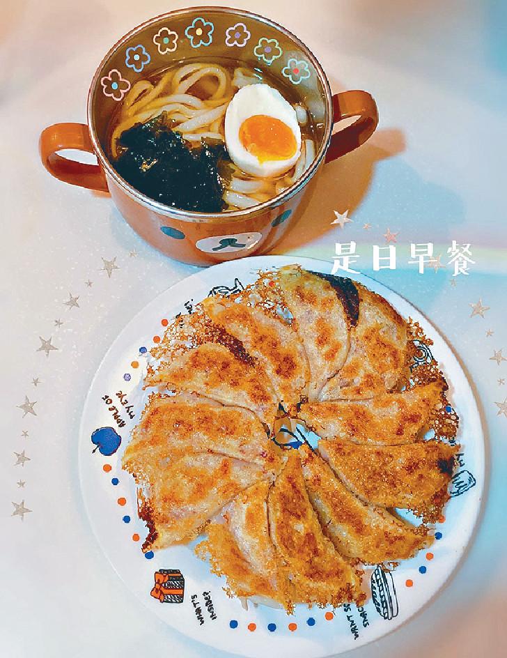 ■倩揚開live親自示範,僅用半小時做咗bb餃子及日式湯烏冬畀家人做早餐。