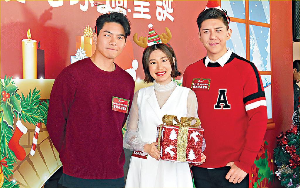 ■羅天宇、胡㻗及蔣家旻出席明珠台聖誕活動。